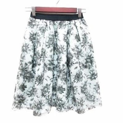 【中古】ジュエルチェンジズ Jewel Changes アローズ フレアスカート ひざ丈 編み込み 花柄 黒 白 水色 レディース
