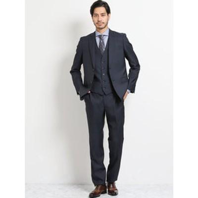 光沢スリムフィット3ピーススーツ ウィンドペン紺
