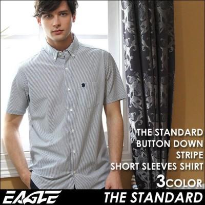 【送料無料】 シャツ 半袖 メンズ ボタンダウン ストライプ 大きいサイズ 日本規格|EAGLE STANDARD イーグル|半袖シャツ ワイシャツ Yシャツ カジュアル