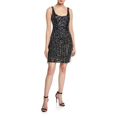 パーカー ブラック レディース ワンピース トップス Reena Beaded Scoop-Neck Sleeveless Mini Dress with Fringe Trim