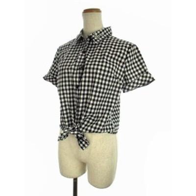 【中古】イング INGNI トップス シャツ ギンガムチェック 裾結び 袖ロールアップ ビジュー 半袖 ブラック系 黒 白 M