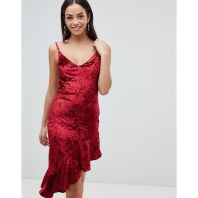 アックスパリ レディース ワンピース トップス AX Paris Asymmetric Frill Dress Red