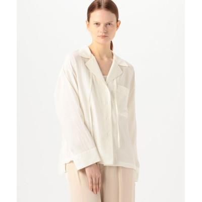 【トゥモローランド】 シルキーポプリン オープンカラーシャツ レディース 11ホワイト 36(9号) TOMORROWLAND