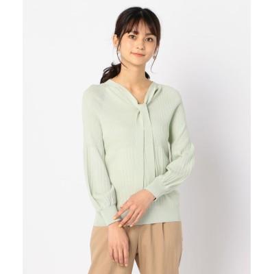 【ノーリーズ】 ボウタイニット レディース イエローグリーン 38 NOLLEY'S