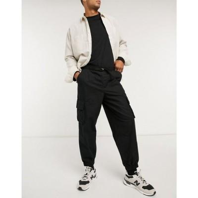 エイソス ASOS DESIGN メンズ ジョガーパンツ ボトムス・パンツ oversized tapered cargo joggers in black ブラック