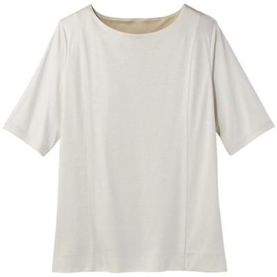 2枚仕立てクルーネックTシャツ(グラマーさん用サイズ有)(胸のサイズで選べる)【ぽっちゃりさんサイズ】/ペールグレー/LL
