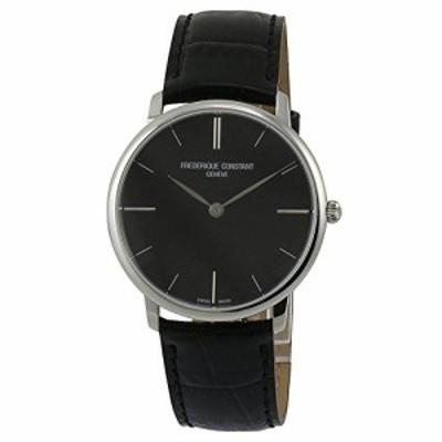 腕時計 フレデリックコンスタント メンズ Frederique Constant Slim Line Black Dial Leather Stra