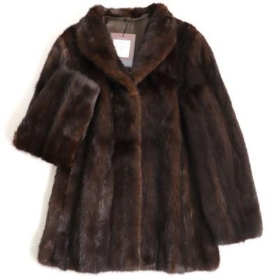 毛並み極美品▼定価158万円 SAGA MINK サガミンク 本毛皮コート ダークブラウン 毛質艶やか・柔らか◎