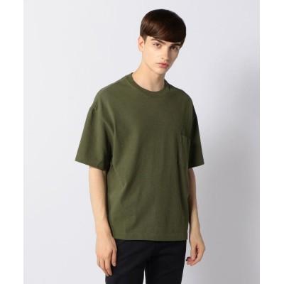 (BLUE WORK/ブルーワーク)吊天竺 ビッグシルエット ポケットTシャツ/メンズ 55グリーン