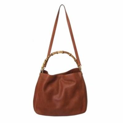 PARISE パリス イタリア製 レザーバンブーバッグ (茶色 ブラウン 革 皮 鞄) 111745【中古】
