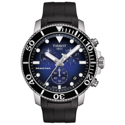 ティソット 腕時計 アクセサリー レディース Men's Swiss Chronograph Seastar 1000 Black Rubber Strap Diver Watch 45.5mm No Color
