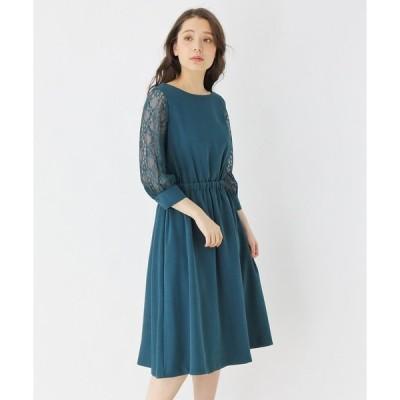 ドレス 【S-LLまで】チュールスリーブドレス