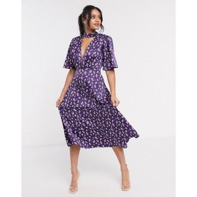 エイソス レディース ワンピース トップス ASOS DESIGN satin midi dress with flutter sleeve in floral print