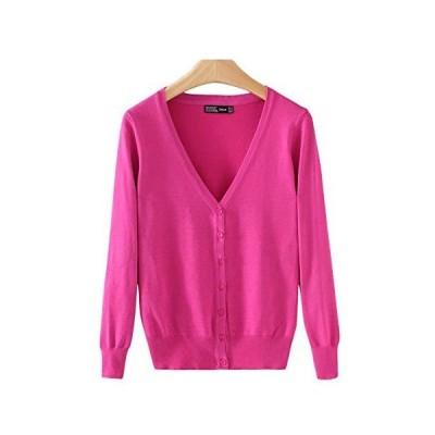 Flygo Women's V-Neck Button Down Soft Knit Cardigan Sweater (Medium, Fuchsi