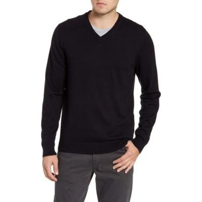 ノードストローム NORDSTROM MEN'S SHOP メンズ ニット・セーター Vネック トップス Cotton & Cashmere V-Neck Sweater Black Caviar