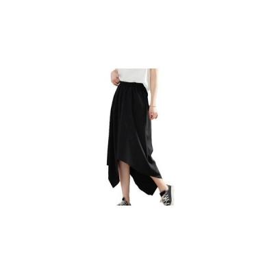 スカート レディース ミモレ丈スカート Aライン 裾不規則 無地 ブラック 大きいサイズ ゆったり 着痩せ 通勤 レトロ オシャレ 夏 夏物 新作 2020 送料無料