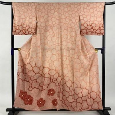 訪問着 美品 名品 花柄 幾何学 総絞り 染め分け サーモンピンク 袷 身丈157.5cm 裄丈66cm M 正絹 中古