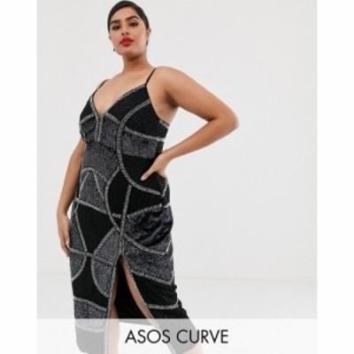 エイソス ASOS Curve レディース ワンピース ミドル丈 ワンピース・ドレス ASOS DESIGN Curve pencil midi dress with embellished panel