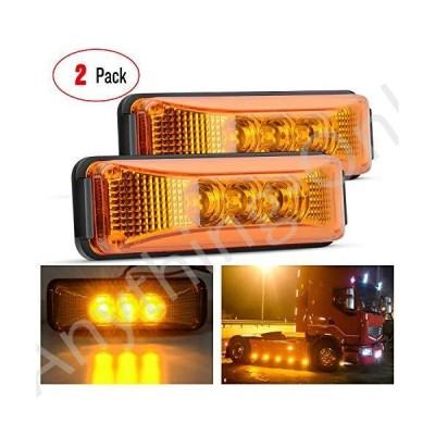 【新品】Nilight - TL-16 2PCS 3.9 Inch 3 LED Truck Trailer Amber Light Front Rear LED Side Marker Lights Clearance Indicator Lamp Perfect
