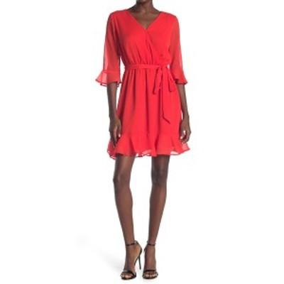 フォーティーンス プレイス レディース ワンピース トップス Tie Waist Wrap Dress FIERY RED