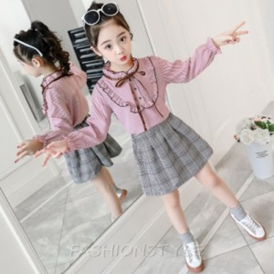 子供セットアップスカート トップス チェック柄 子供服 女の子 セットアップ キッズ 長袖 入学式 卒業式 通学着 110cm120cm130cm140cm150