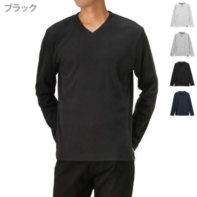 Tシャツ メンズ 長袖 ロンT 無地 リブ シンプル Vネック ロングTシャツ 長袖Tシャツ
