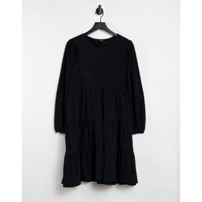 モンキ レディース ワンピース トップス Monki Mino long sleeve tiered mini smock dress in black Black