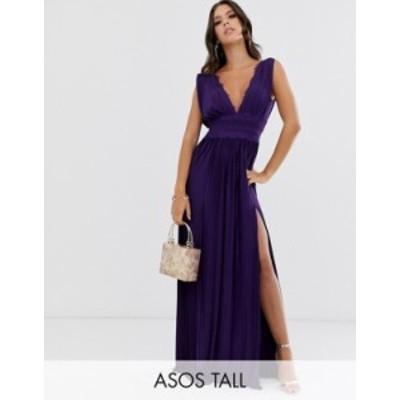 エイソス レディース ワンピース トップス ASOS DESIGN Tall Premium Lace Insert Pleated Maxi Dress Deep purple
