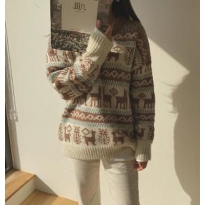 韓国 ファッション レディース トップス ニット セーター ノルディック 長袖 ゆったり カジュアル シンプル 大人可愛い 秋冬