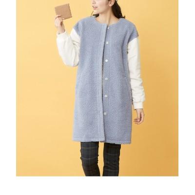 【大きいサイズ】 異素材コンビボア切替コート コート, plus size coat