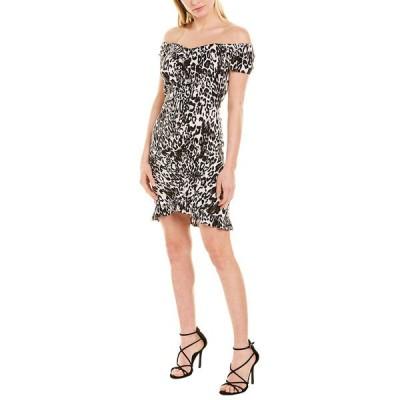 ミリー ワンピース トップス レディース Milly Ella Ruched Mini Dress black & white animal print