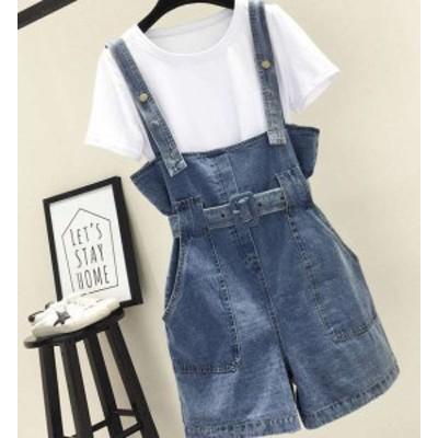 オールインワン デニム ショートパンツ ジャンパースカート キュロット レディース 夏服 夏新作 韓国 ファッション
