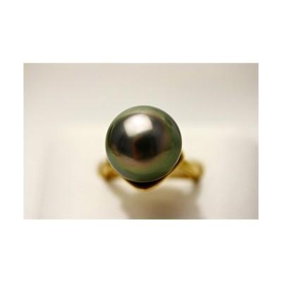 タヒチ黒蝶真珠パールリング【指輪】 14mm グリーンピンクカラー (11)
