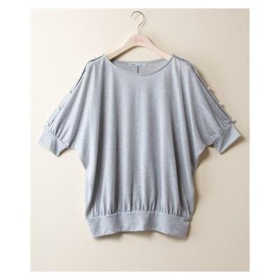 Tシャツ カットソー 大きいサイズ レディース 袖パール調ボタン使いラメドルマン プルオーバー oe illet  LL/3L ニッセン