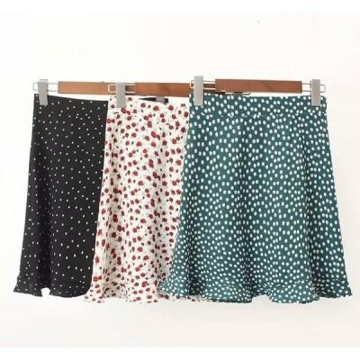 柄スカート 大好き かわいい 小花柄 ドット柄 ハイウエスト 膝丈 スカート 今年っぽい 草花 ボタニカル柄 ガーリー 清楚な 小柄 かわいい 品がある 上品