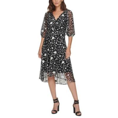ダナ キャラン ニューヨーク ワンピース トップス レディース Floral-Embroidered Puff-Sleeve Faux-Wrap Dress Black Multi