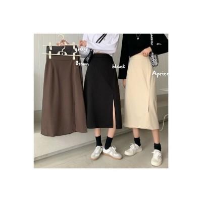 【送料無料】ハーフ丈スカート 女 秋冬 ファッション黒 カラー スプリット スカート | 364331_A63710-2296834