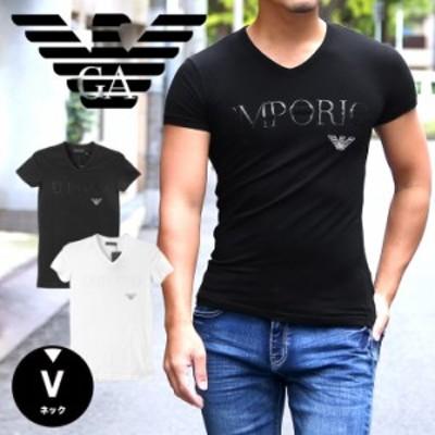 エンポリオ アルマーニ EMPORIO ARMANI Vネック 半袖 Tシャツ メンズ EALOGO STRETCH COTTON かっこいい おしゃれ 綿 ブランド 男性 プレ