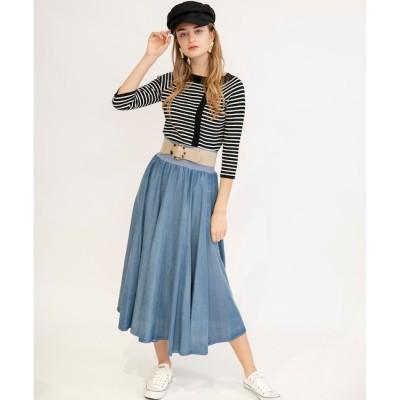 【アンドクチュール/And Couture】 レーヨンデニムロングロングスカート