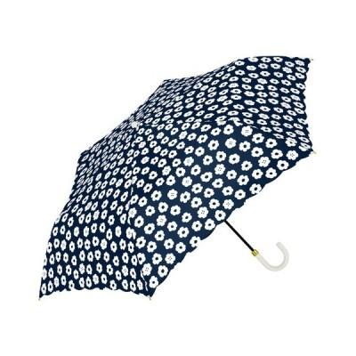アウトレット 新品 処分品 特別価格 a.s.s.a  レディース 折り畳み 雨傘 シンプルフラワー mini ネイビー 50cm 手開きタイプ RM-116