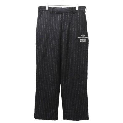 THE BLACK EYE PATCH × sulvam 「TAILORED PANTS」 ウールストライプスラックスパンツ ネイビー サイズ:M (