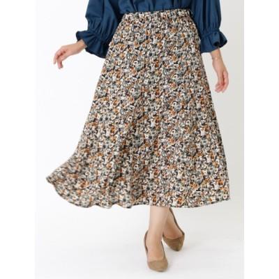 【大きいサイズ】【20秋新作】【大きいサイズ】フラワープリントスカート 大きいサイズ スカート レディース