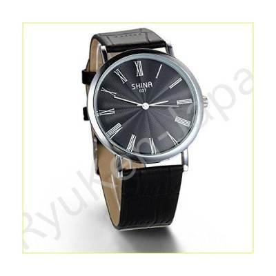 【新品・未使用品】JewelryWe Mens Roman Number Leather Analog Quartz Wrist Watch Black【並行輸入品】