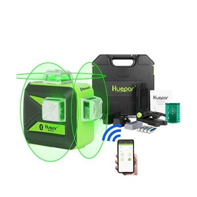 Huepar 3x360 Green Beam 3D Laser Level with Bluetooth Connectivity, Three-Plane Self-Leveling and Alignment Cross Line Laser Level-360° Hor
