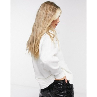 セレクティッド レディース ニット&セーター アウター Selected Femme knitted sweater with rib detail in white WHITE