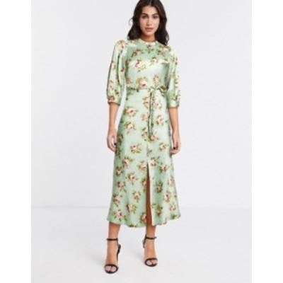 エイソス レディース ワンピース トップス ASOS DESIGN satin bias midi tea dress with braid detail and puff sleeves in grid floral