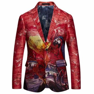 テーラードジャケット メンズ スーツ花柄 ブレザー スーツ おしゃれジャケット 大人カジュアル メンズファッション 20代 30代 40代