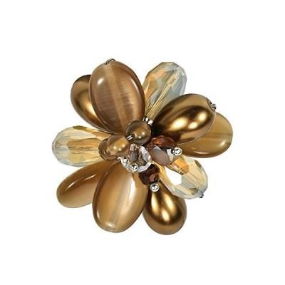 AeraVida Charming Brown Cluster Mix Stone Adjustable Statement Free Size Ri