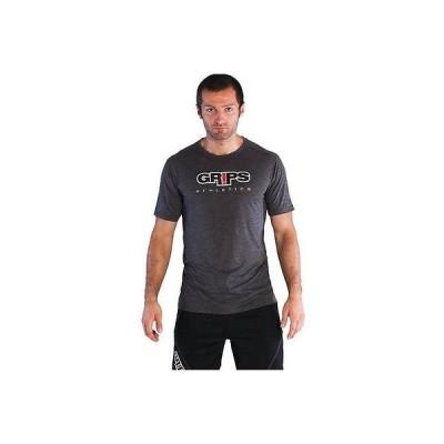 グリップス・アスレチックス? 戦闘スポーツトレーニングGRIPS メンズ BASELINE Tシャツ 2015 LOGO プリント CREWNECK IN グレー 'L'