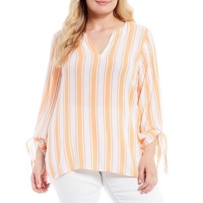 マイケルコース レディース シャツ トップス MICHAEL Michael Kors Plus Size Deck Stripe Crinkle Woven Split V-Neck Tie Sleeve Top Melon
